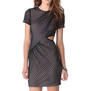 Charlotte Ronson Navy Lace Side Cut Out Mini Dress